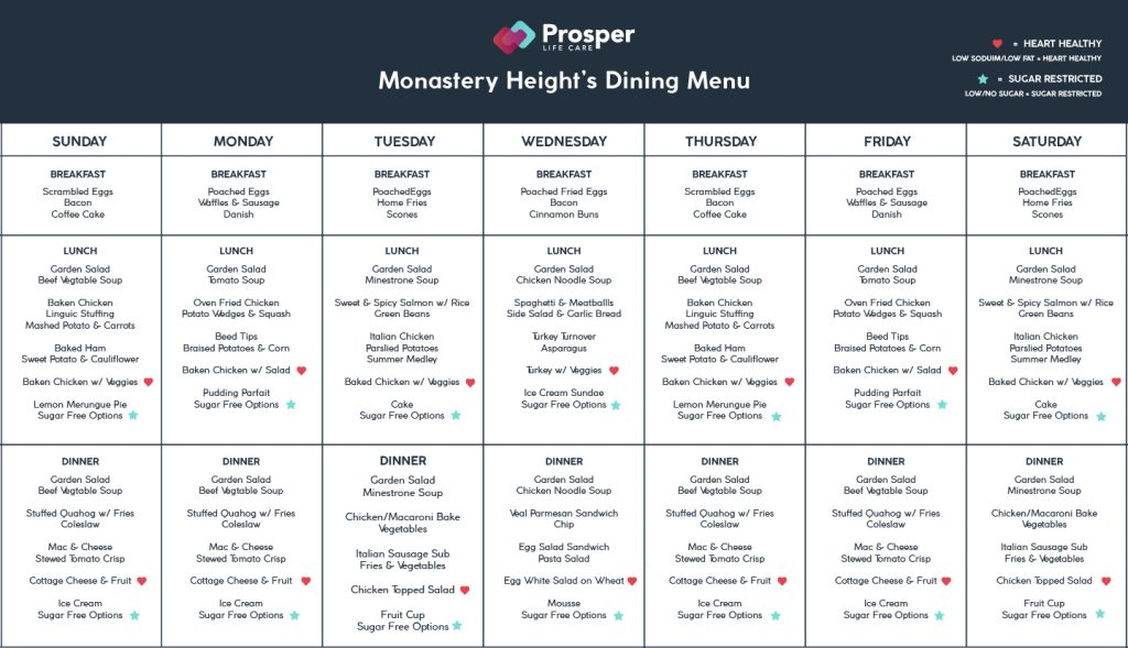 Monastery Heights Dining Menu